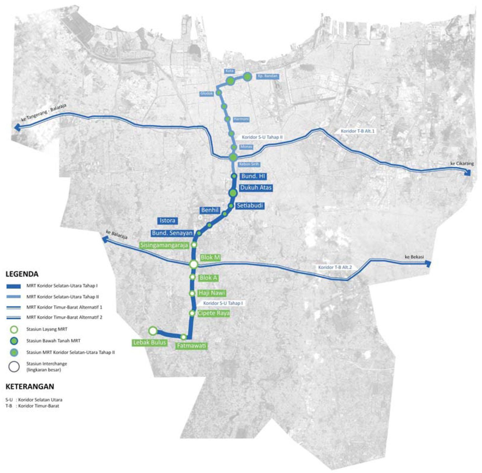 Peta MRT Jakarta Lebak Bulus - Bundaran HI